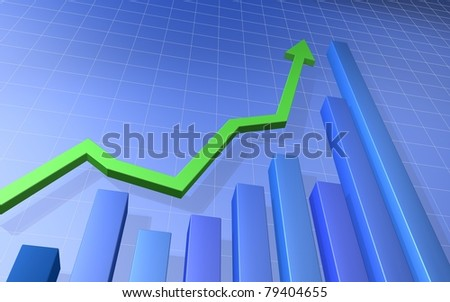Green Up Arrow with Blue Bar Graph - stock photo