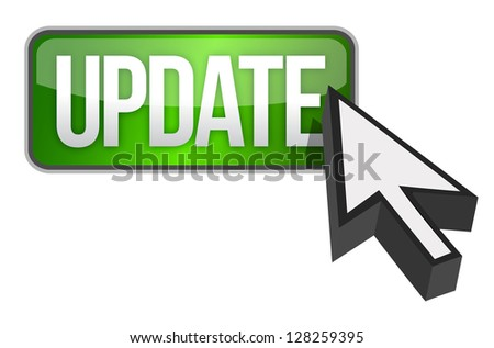 green update button and a cursor illustration design over white - stock photo