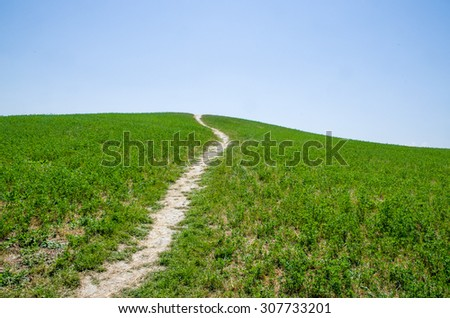 green uphill footpath background hill green grass blue sky