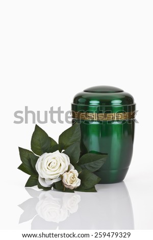 Green urn and white roses on white background - stock photo