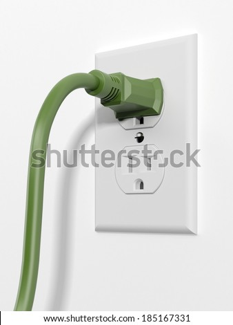 green us style plug with socket - stock photo