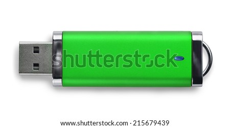 Green USB memory stick isolated on white - stock photo