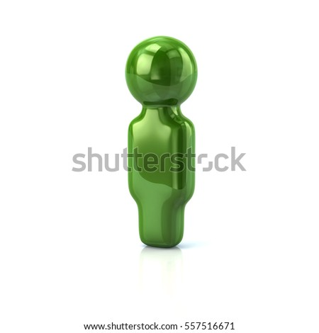 Green user icon 3d rendering on white background