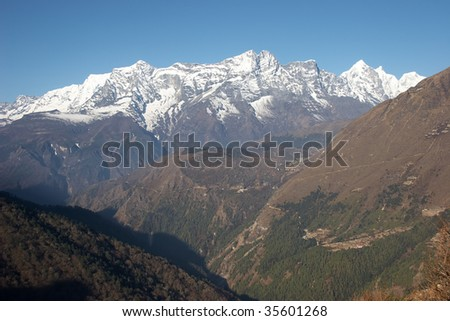 Green valley at Everest trail, Himalaya, Nepal - stock photo