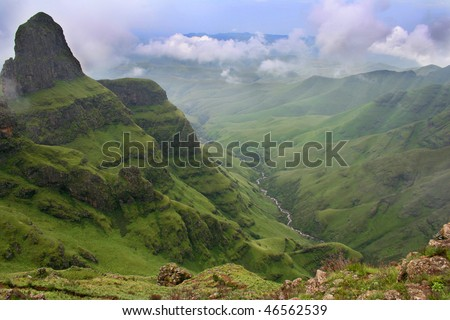 Green vally in the Drakensberg south africa - stock photo