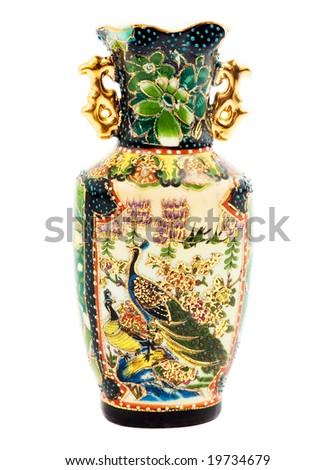 Green vase  decorated bird on a white background