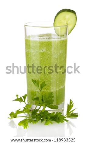 Green vegetable juice isolated on white - stock photo