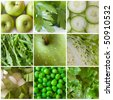 green vegetables and fruit - stock photo