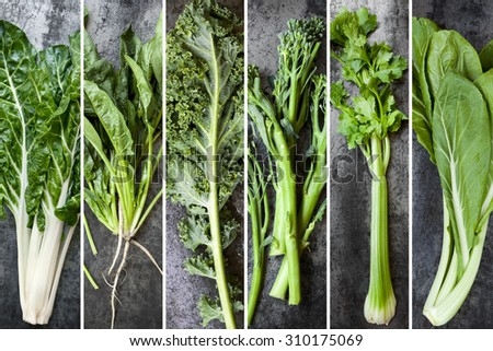 Green vegetables food collage.  Silver beet, spinach, kale, broccolini, celery and chard, over dark slate. - stock photo