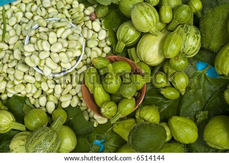 Green Vegetables in a Market in Chiapas Mexico - stock photo