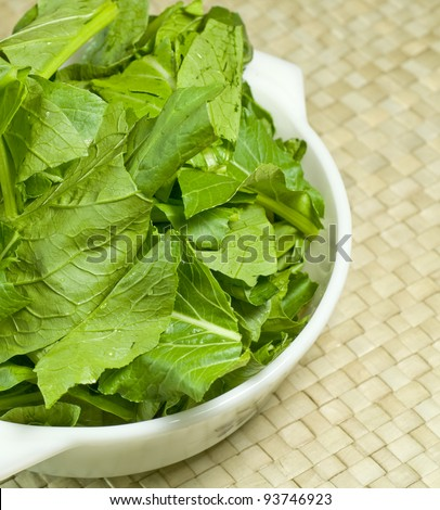 green vegetables in a white bowl with  matted background
