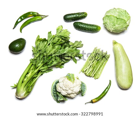 Green vegetables isolated on white - stock photo