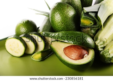 green vegetables, mushrooms, onion and avocado - stock photo