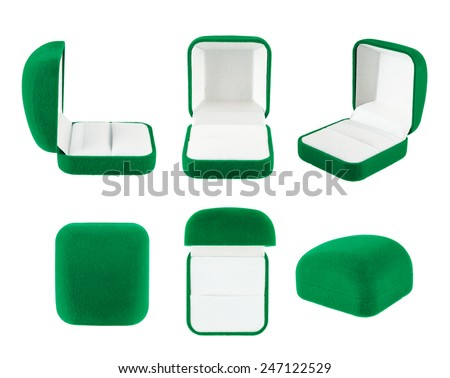 Green velvet box for the ring, isolated over the white background, set of six foreshortenings - stock photo