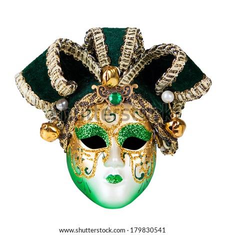 Green Venetian mask isolated on white background - stock photo