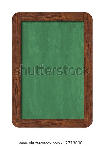 Green vertical chalkboard with wooden frame including clipping path  - stock photo