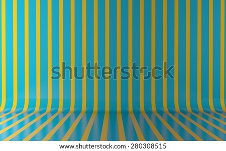 Green vertical lines on wall and floor background - stock photo