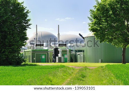 Green view on a bio fuel plant. - stock photo