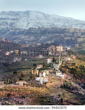 Green village high up the mountains, Lebanon - stock photo