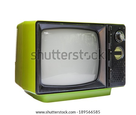 Green vintage analog television isolated over white background, clipping path.