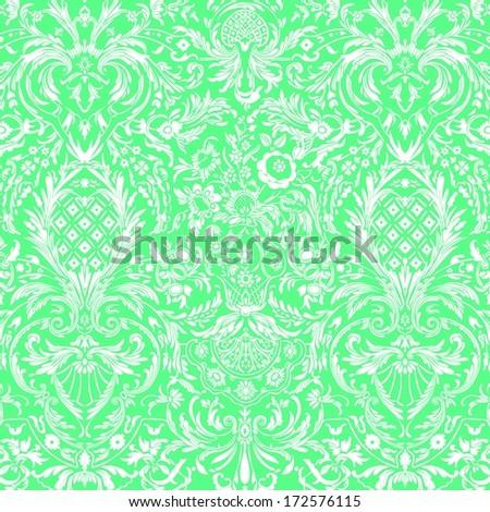 Green Vintage Detailed Lace Damask Pattern - stock photo