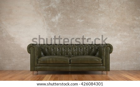 Green vintage leather sofa in front of a concrete wall (3D Rendering)