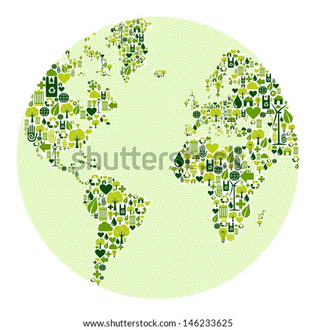 Green vintage planet earth design eco friendly icons. This illustration is layered for easy manipulation and custom coloring - stock photo