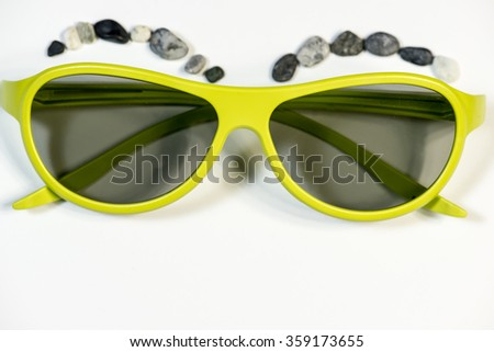 Green Vintage plastic sunglasses - stock photo