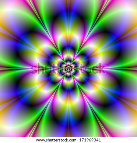 Green Violet and Blue Flower /  Digital abstract fractal image with a flower design in blue, green, violet and orange.