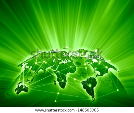 Green vivid image of globe. Globalization concept - stock photo