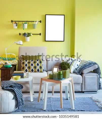 Green Wall Grey Sofa Interior Decoration Stock Photo & Image ...