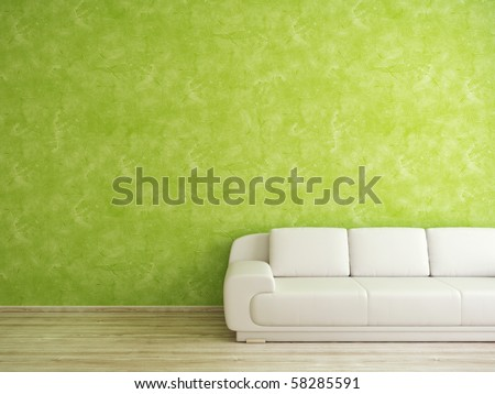 green wall and white sofa in modern interior - stock photo