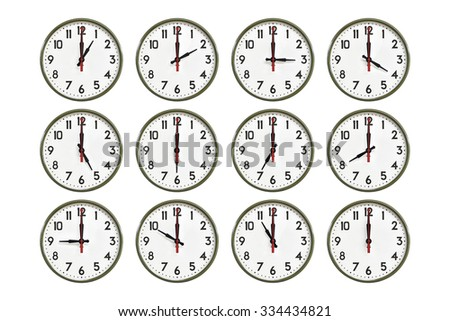 Green wall clock all day - stock photo