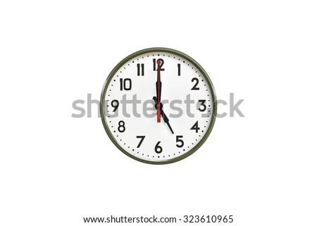 Green wall clock.Five o'clock - stock photo