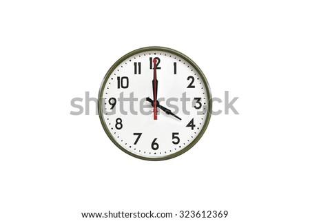 Green wall clock.Four o'clock - stock photo