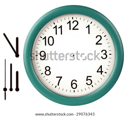 Green wall clock isolated on white background - stock photo