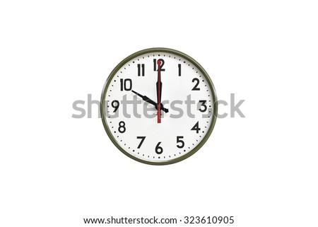 Green wall clock.Ten o'clock - stock photo