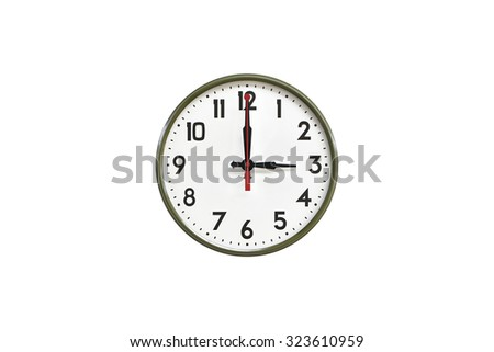 Green wall clock.Three o'clock - stock photo