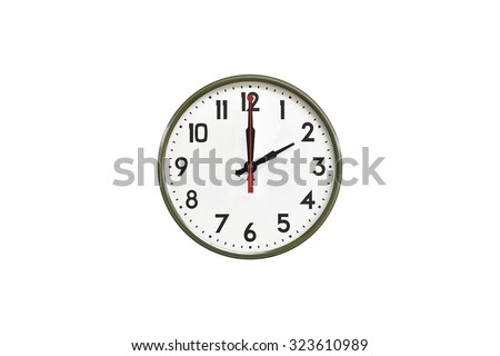 Green wall clock.Two o'clock - stock photo