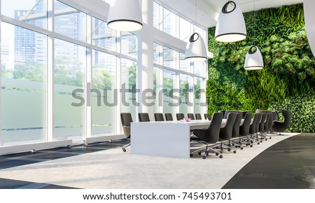 Green Wall In Office. Meeting Hall In Business Center. Meeting Interior.  Vertical Garden