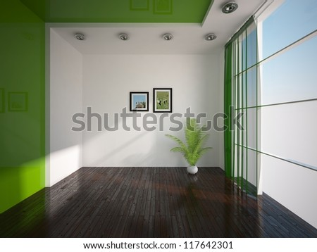 green wall in the empty room - stock photo