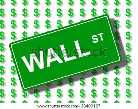 Green wall street sign in front of dollar icons. - stock photo