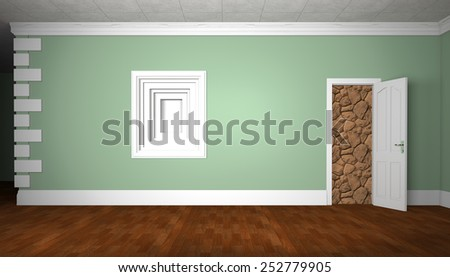 Green wall with a door and a niche. - stock photo