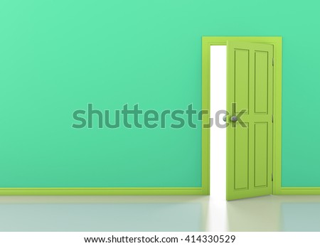 green wall with opened green door 3d rendering - stock photo