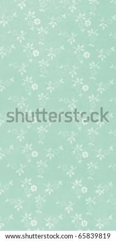 green wallpaper with white blossoms - stock photo