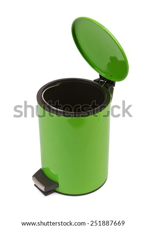 Green Waste can. Isolated on white - stock photo