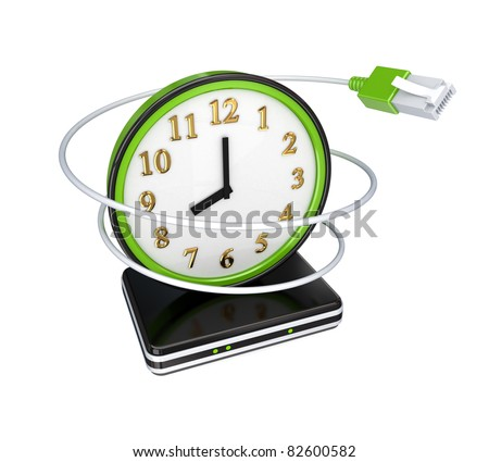 Green watch, patchcord and router. 3D rendered. Isolated on white background. - stock photo