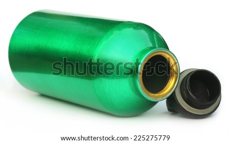Green water bottle over white background - stock photo