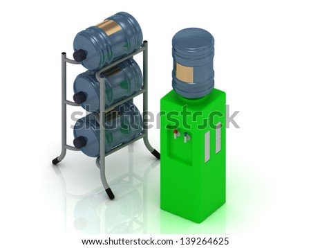 Green water cooler and three bottles on a metal rack - stock photo