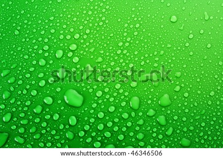 green water drops background - stock photo